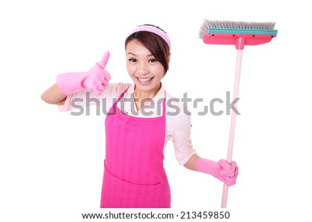 happy Cleaning woman housewife mother excited smile show gesture isolated on white background. asian - stock photo