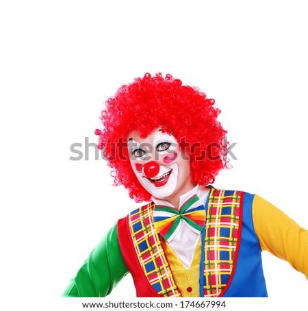 happy clown closeup portrait on white background - stock photo