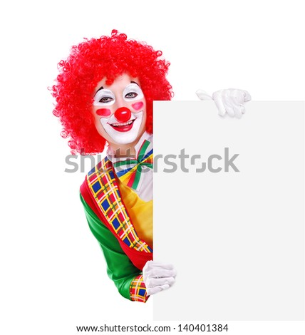 Happy clown holding the blank board - stock photo