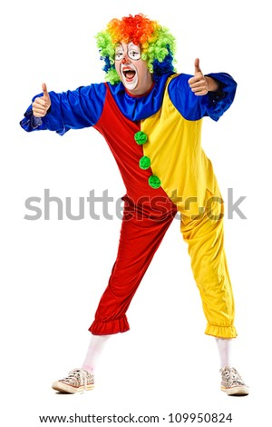 Happy clown show thumbs up. Isolated over white