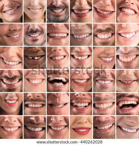 Happy collage - stock photo