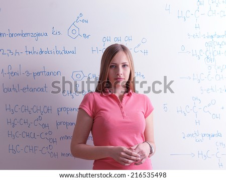 happy collage  school girl student portrait in  classrom and library - stock photo