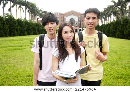 happy college student at a campus - stock photo