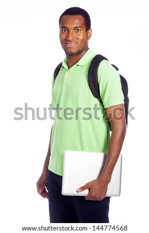 Happy college student holding laptop, isolated on white background