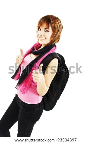 Happy college student showing thumbs up. Isolated over white background - stock photo