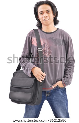 Happy College Student Smiling - stock photo