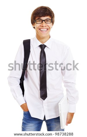 Happy college student with glasses and bag holding laptop. Isolated on white background, mask included - stock photo