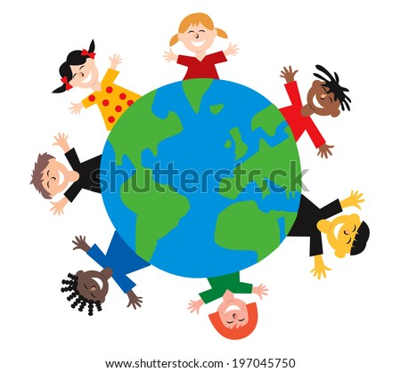 Happy colorful different children from all over the world jumping around planet earth isolated on white background - stock photo