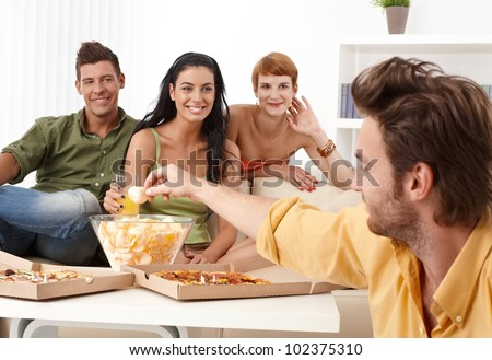 Happy companionship spending time together. - stock photo