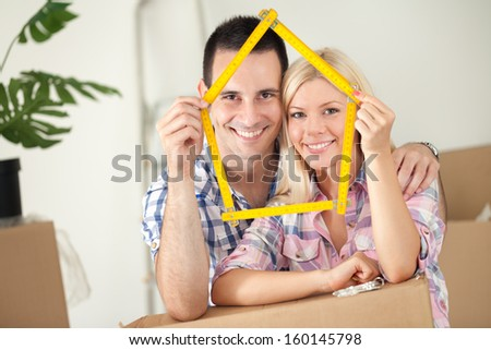 happy concept for new or first home - stock photo