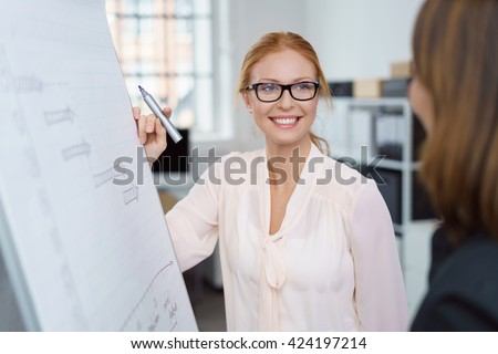 Happy confident attractive young female business team leader standing at a flip chart giving a presentation and smiling at a woman colleague - stock photo