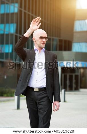 Happy Confident businessman - stock photo
