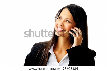 happy confident businesswoman talking on the mobile cell phone isolated on white - stock photo