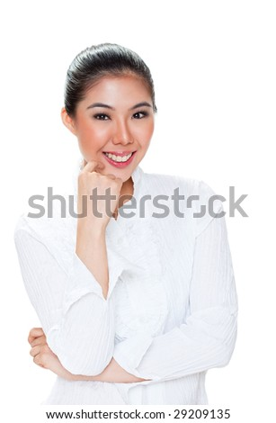 happy confident smiling asian young woman on white background