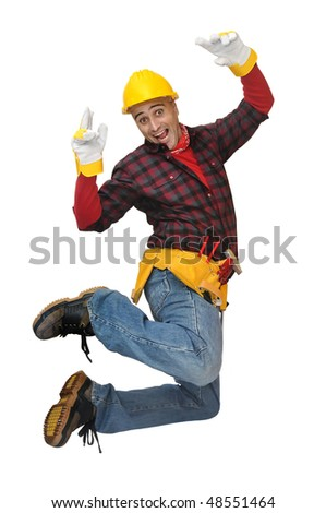 Happy construction worker jumping isolated in white