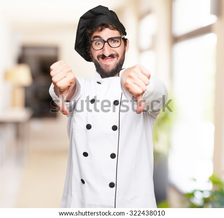 happy cook man disagree sign