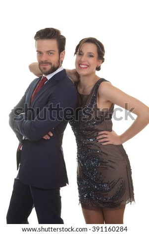 happy couple at party wedding event - stock photo