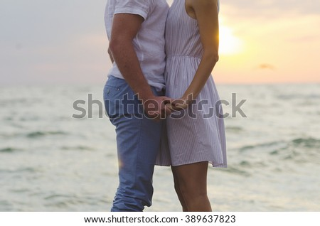 Happy couple at the sea