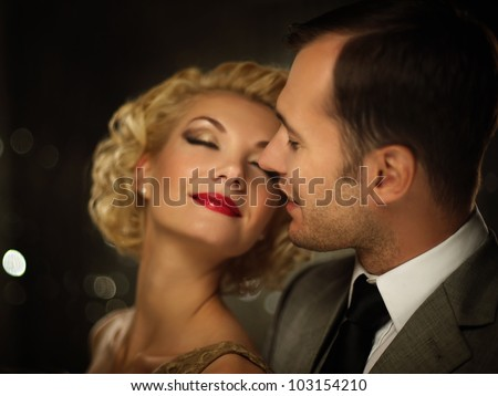 Happy couple closeup - stock photo