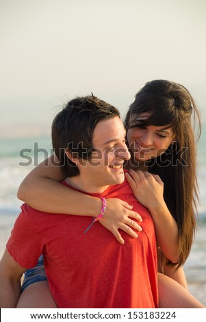 Happy couple enjoying a  sunny day out - stock photo