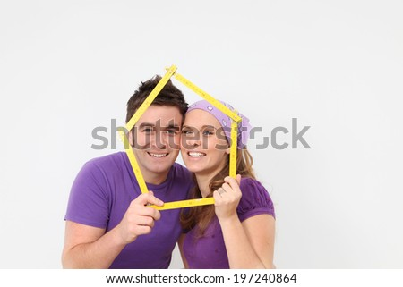 happy couple first house loan or mortgage. - stock photo