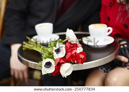 Happy couple having a date in cafe - stock photo