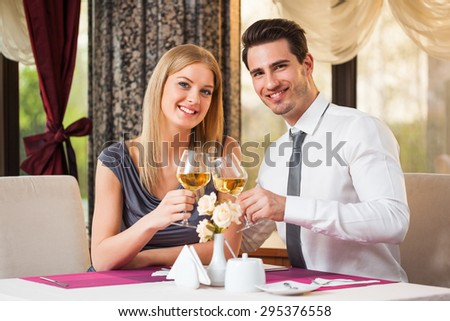 Happy couple having great time at the restaurant