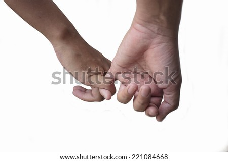 Happy couple holding hands on white background