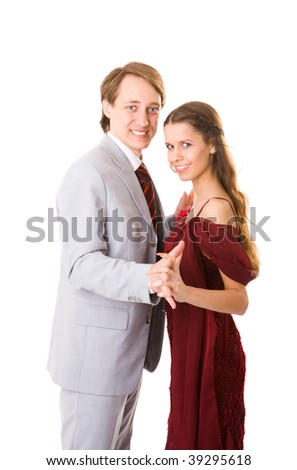 Happy Couple holding together smiling isolated on white
