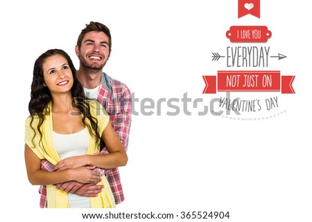 Happy couple hugging and looking away against i love you everyday - stock photo