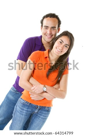 Happy couple hugging - isolated over a white background