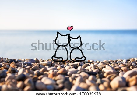Happy couple in love against blue sky background - stock photo