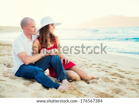 Happy Couple in Love at the Beach