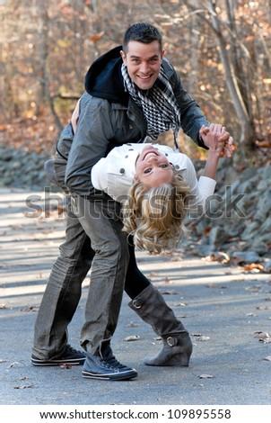 Happy Couple In Love Dancing - stock photo