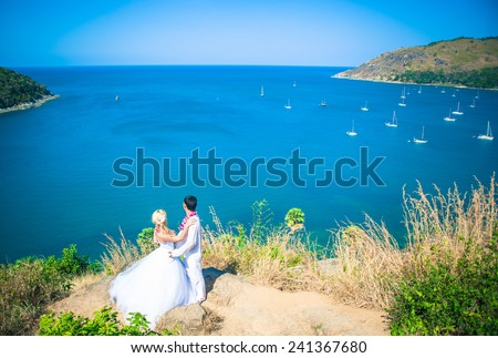 happy Couple in love on the seaside tropical beach thailand phuket - stock photo