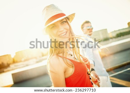 Happy couple in love outdoors - stock photo