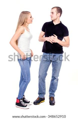 Happy couple in love. Studio photo on white background - stock photo