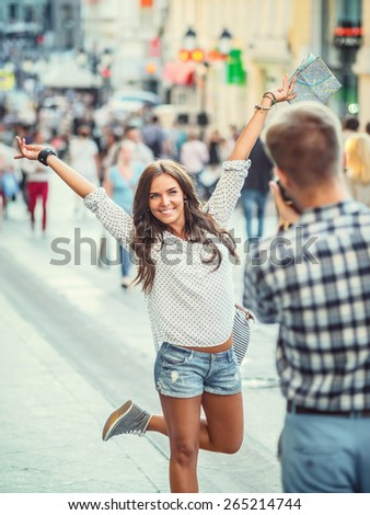 Happy couple in the city - stock photo