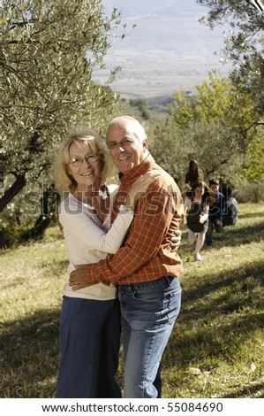 happy couple in the country - stock photo