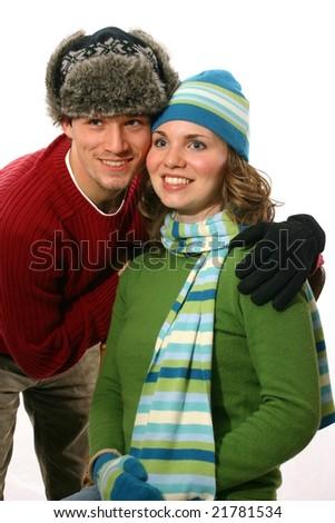 Happy couple in winter - stock photo