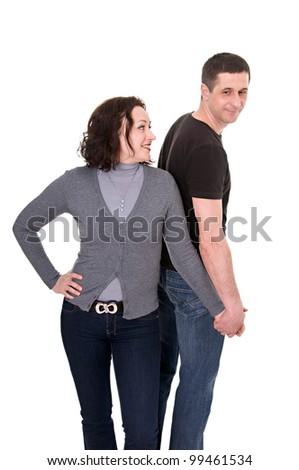 happy couple isolated on the white background - stock photo