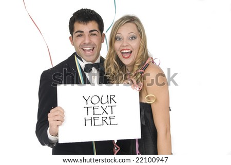 happy couple laughing in a celebration with sign for your text - stock photo