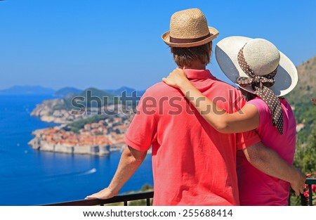 happy couple on summer vacation in Dubrovnik, Croatia - stock photo