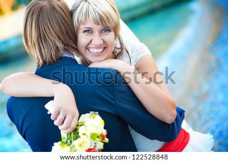 happy couple on the beach - stock photo