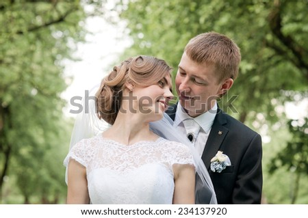 Happy couple on wedding day. Bride and Groom.