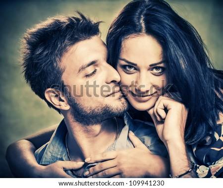 happy couple portrait - stock photo