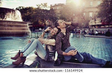 Happy couple resting - stock photo