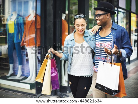 Happy Couple Shopping Mall Concept - stock photo