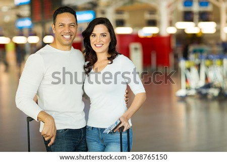 happy couple travel by air  - stock photo