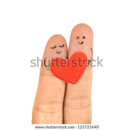 happy couple two fingers - stock photo